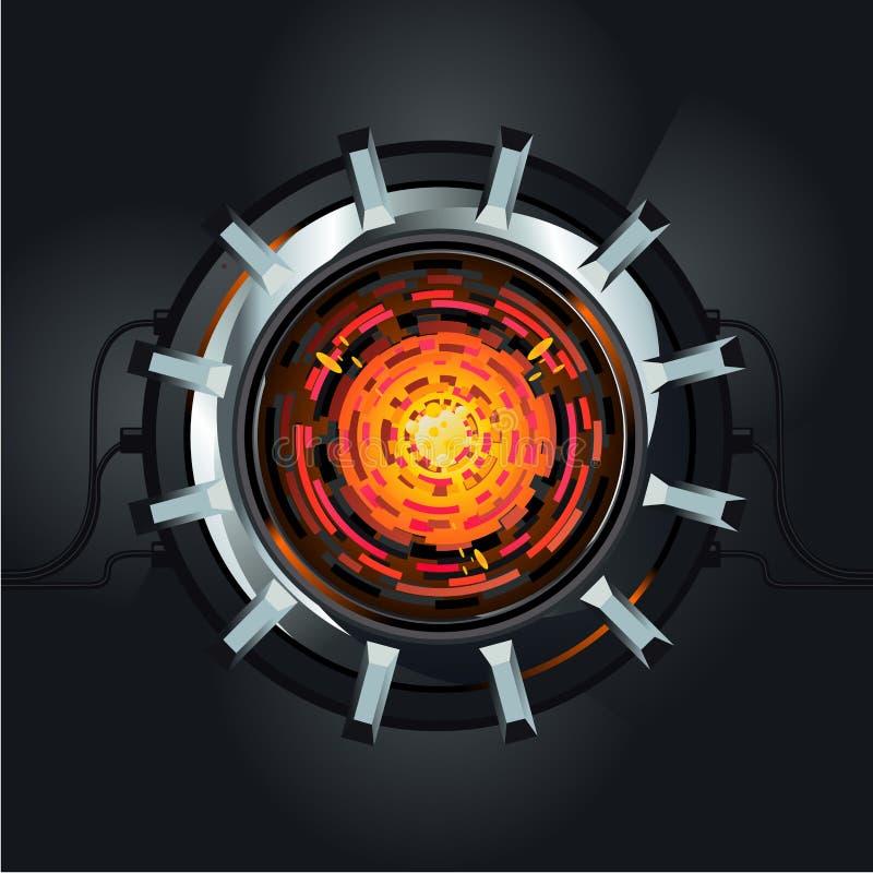 Futuristisk vektormotor Reaktor för atomenergi Framtida energi- och maktbegrepp royaltyfri illustrationer