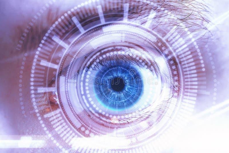 Futuristisk vision, vetenskap och IDbegrepp arkivfoto