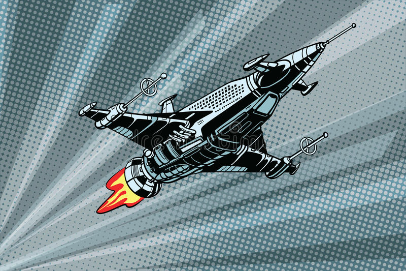 Futuristisk yttre rymdstridstarship royaltyfri illustrationer
