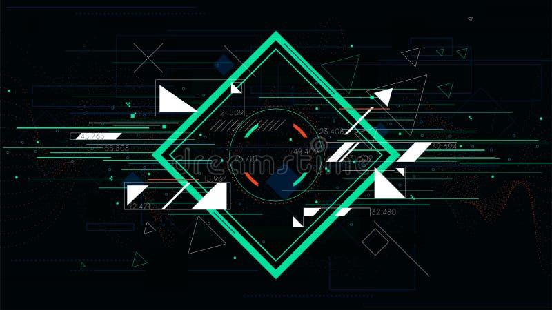 Futuristiska abstrakta bakgrunder för Tech, färgrik fyrkant royaltyfri illustrationer