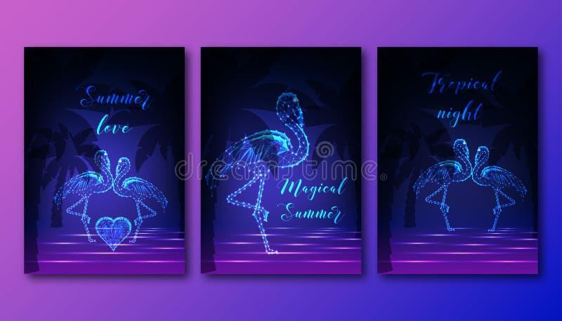 Futuristiska affischer ställde in med par av att dansa flamingo, hjärta, palmträd och havsvågor stock illustrationer