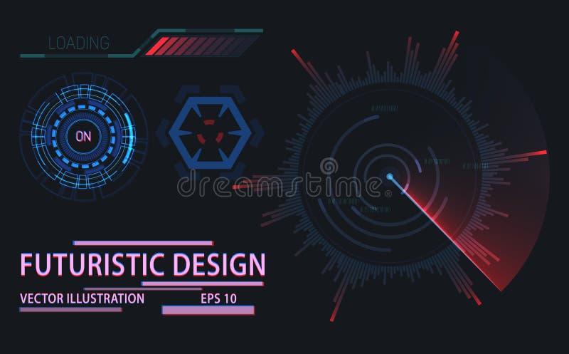 Futuristiska beståndsdelar för rengöringsduk- eller lekanvändargränssnitt stock illustrationer