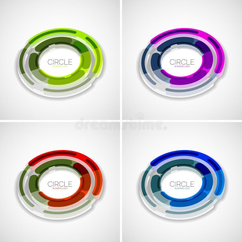Futuristiska cirklar ställde in, företagslogoen, designen 3d vektor illustrationer