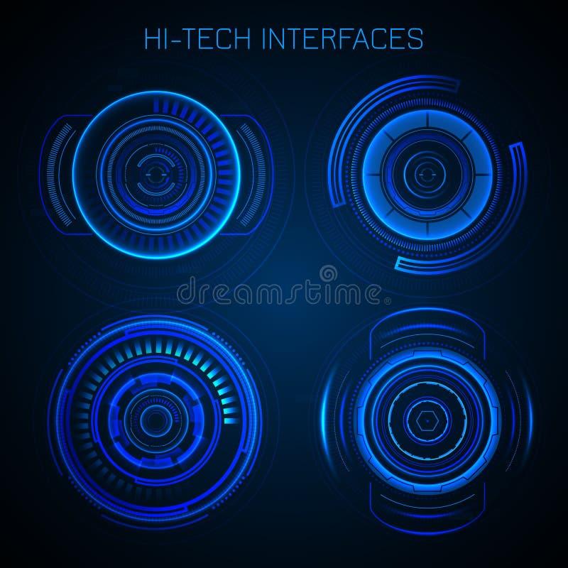 Futuristiska Hud Interface vektor illustrationer