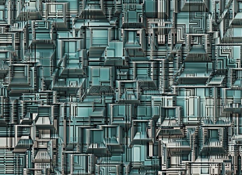 Futuristiska industriella stadsabstrakt begreppbakgrunder royaltyfri illustrationer