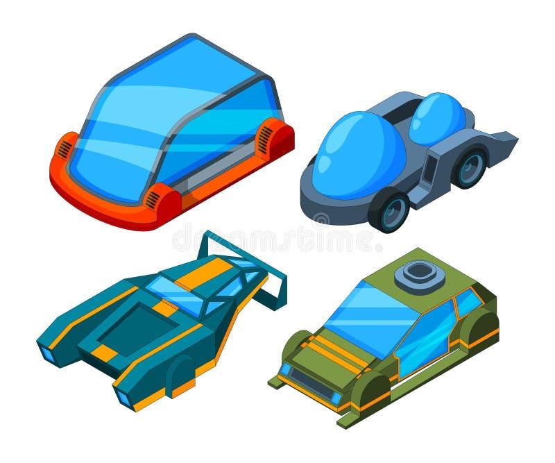 Futuristiska isometriska bilar Poly futuristiska bilar för vektor 3d lågt royaltyfri illustrationer