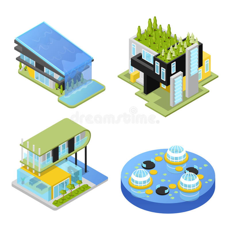 Futuristiska privata hus modern arkitektur Isometrisk illustration för lägenhet 3d royaltyfri illustrationer