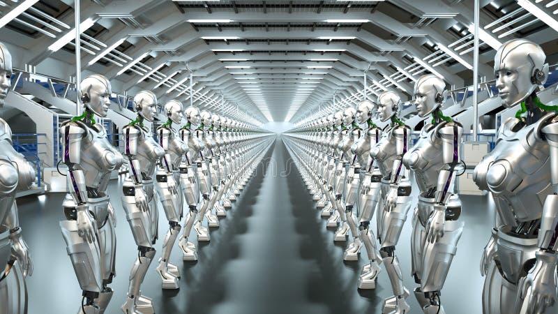 Futuristiska robotar för en humanoid i science fictionhangaren framförande 3d stock illustrationer