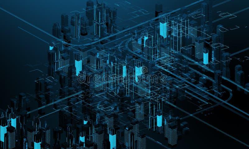 Futuristiska skyskrapor i flödet Flödet av digitala data staden som framtida hus lokaliserade våra bytande ut framställningsspher royaltyfri illustrationer