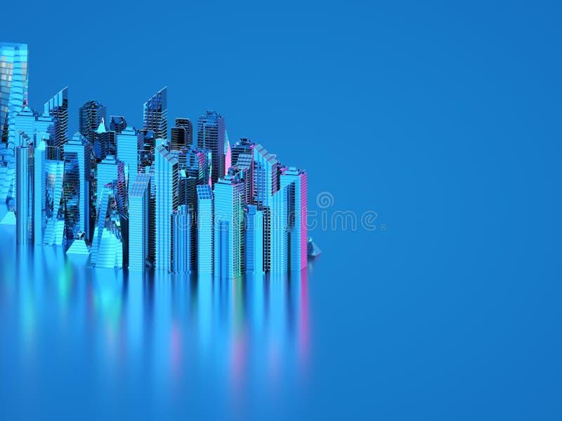 Futuristiska skyskrapor i flödet Flödet av digitala data staden som framtida hus lokaliserade våra bytande ut framställningsspher stock illustrationer