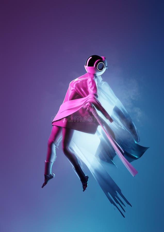 Futuristiska utrymmekvinnor som bort svävar vektor illustrationer
