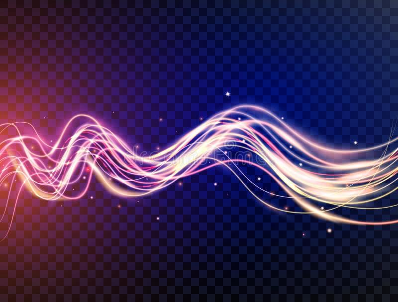 Futuristiska vågor i hastighetsrörelse Blåa och violetta krabba dynamiska linjer med mousserar på genomskinlig bakgrund magi royaltyfri illustrationer