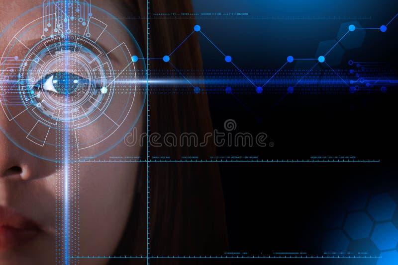 Futuristiskt avläsa för öga och för framsida av det asiatiska biometric och ID-teknologibegreppet för kvinnor, royaltyfri illustrationer