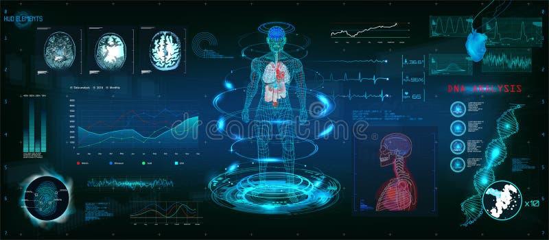 Futuristiskt avläsa för MRT i HUD stildesign vektor illustrationer
