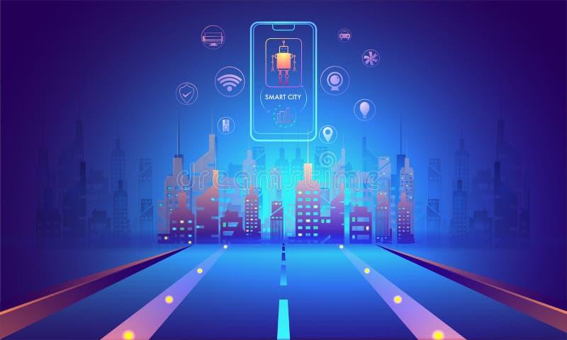 Futuristiskt begrepp för smart stad, illustration av stads- landskap w stock illustrationer