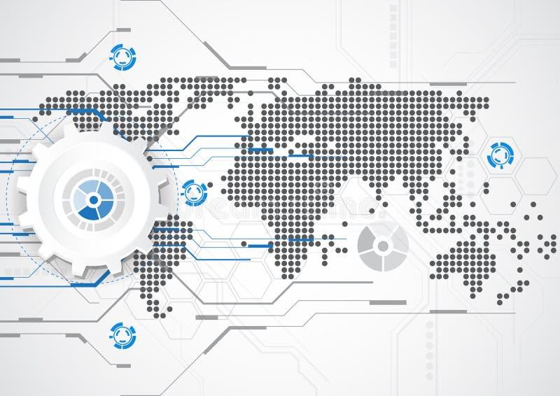 Futuristiskt digitalt för teknologi teknologiströmkretsbräde globalt system för teknologi abstrakt bakgrund vektor vektor illustrationer