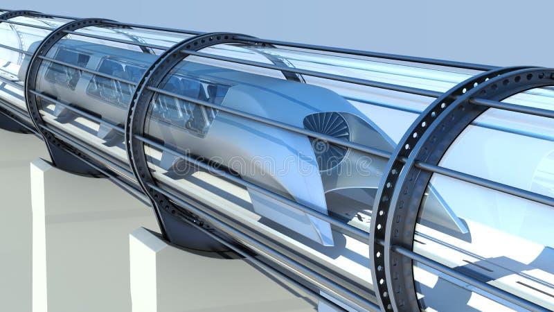 Futuristiskt drev för enskenig järnväg i tunnel framförande 3d stock illustrationer