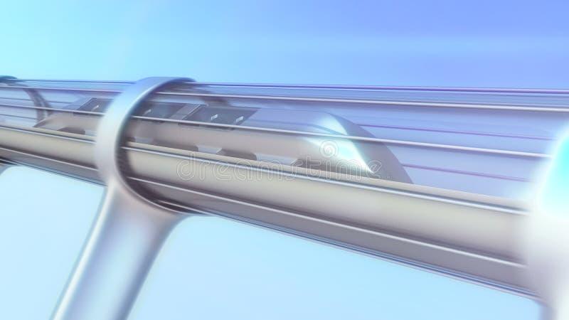 Futuristiskt drev för enskenig järnväg i tunnel illustration 3d royaltyfri illustrationer