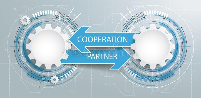 Futuristiskt för strömkretsbräde för 2 kugghjul samarbete för partner royaltyfri illustrationer