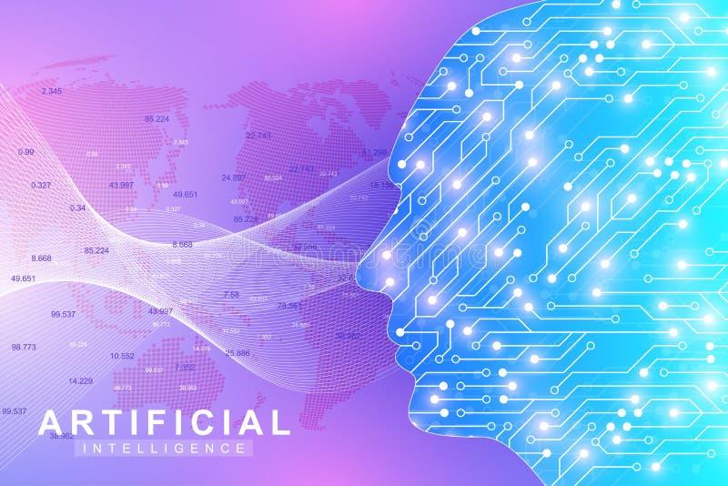 Futuristiskt konstgjord intelligens- och för lära för maskin begrepp Mänsklig stor datavisualization Vågflödeskommunikation royaltyfri illustrationer