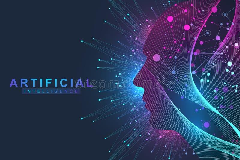 Futuristiskt konstgjord intelligens- och för lära för maskin begrepp Mänsklig stor datavisualization Vågflödeskommunikation stock illustrationer
