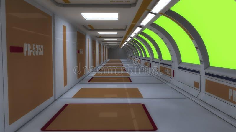 Futuristiskt korridorfrämlingrymdskepp royaltyfria bilder