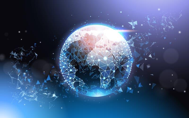 Futuristiskt lågt Poly begrepp Mesh Wireframe On Blue Background för jordjordklot för globalt nätverk royaltyfri illustrationer