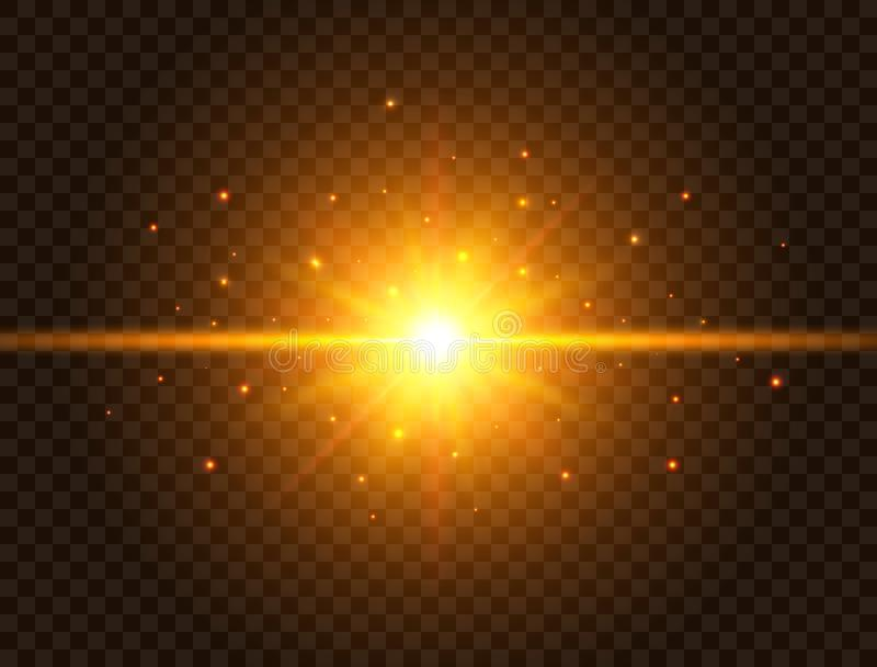 Futuristiskt ljus på genomskinlig bakgrund Den guld- stjärnabristningen med strålar och mousserar Solexponering med strålar och s arkivbild