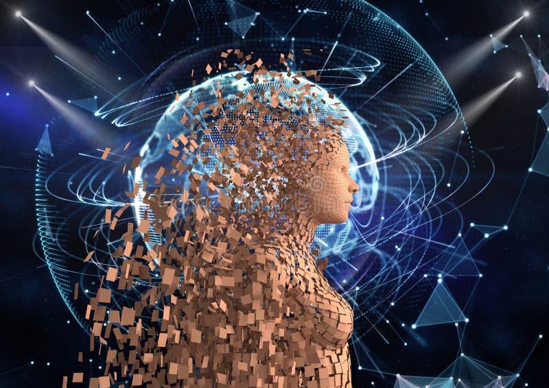 Futuristiskt mänskligt diagram 3d över abstrakt bakgrund royaltyfria foton