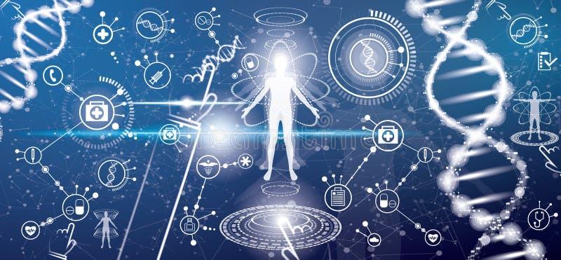 Futuristiskt medicinskt vård- begrepp med människokroppen och DNA:t Molecu royaltyfri illustrationer