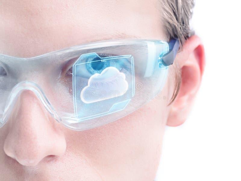 Futuristiskt moln som beräknar arkivbilder