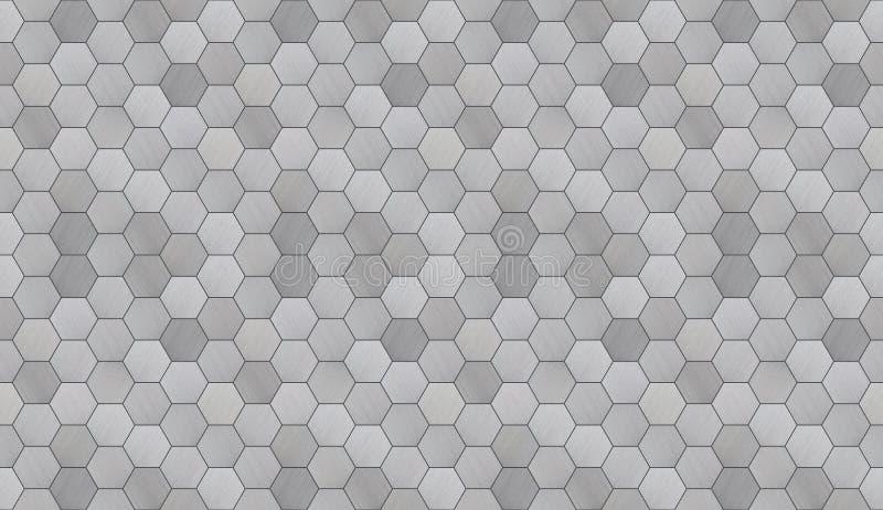Futuristiskt sexhörnigt aluminium belagd med tegel sömlös textur arkivbilder