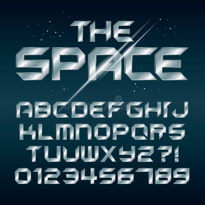 Futuristiskt silverChrome alfabet och nummer stock illustrationer