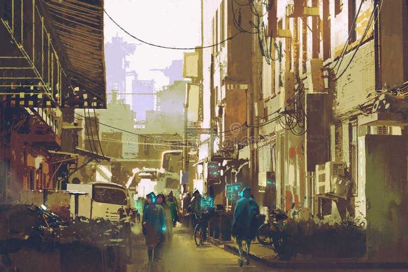 Futuristiskt stads- begreppsvisningfolk som går i stadsgata stock illustrationer