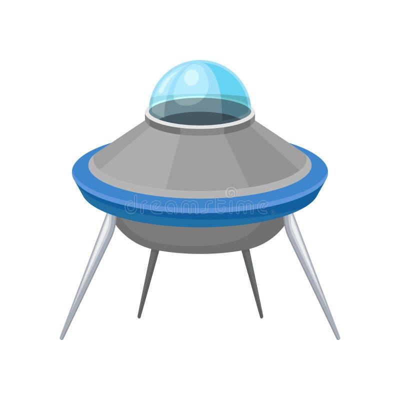 Futuristiskt tefat format flyghantverk Utomjordiskt rymdskepp Stort främmande rymdskepp med fyra ben Plan vektor royaltyfri illustrationer