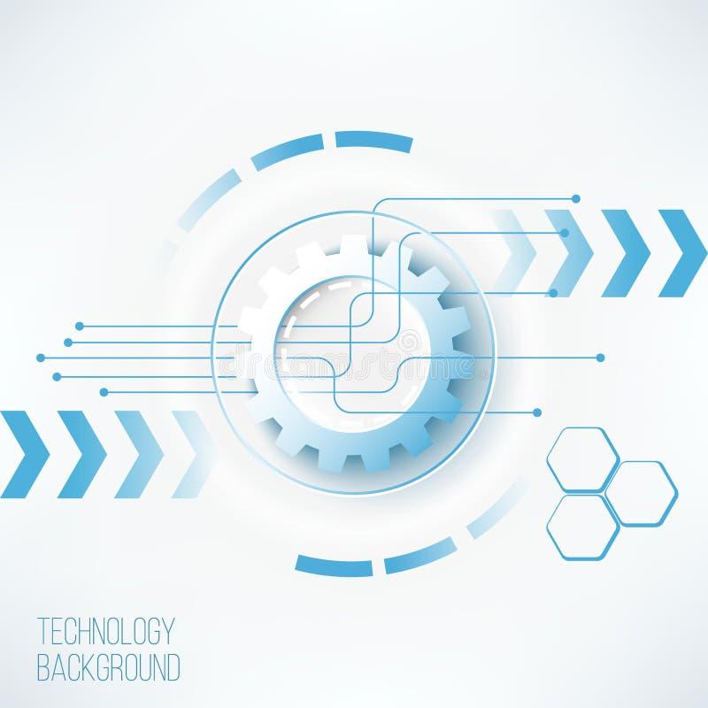 Futuristiskt teknologikugghjulbegrepp royaltyfri illustrationer