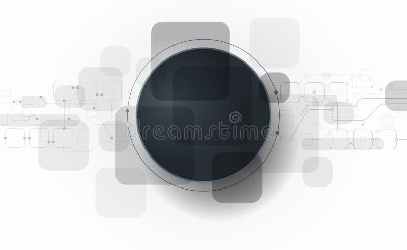 Futuristiskt vektorillustrationabstrakt begrepp, strömkretsbräde på ljus - grå bakgrund royaltyfri illustrationer