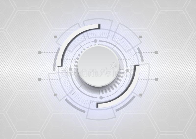 Futuristiskt vitt knapp- och strömkretsbräde med glödande ligh för blått vektor illustrationer