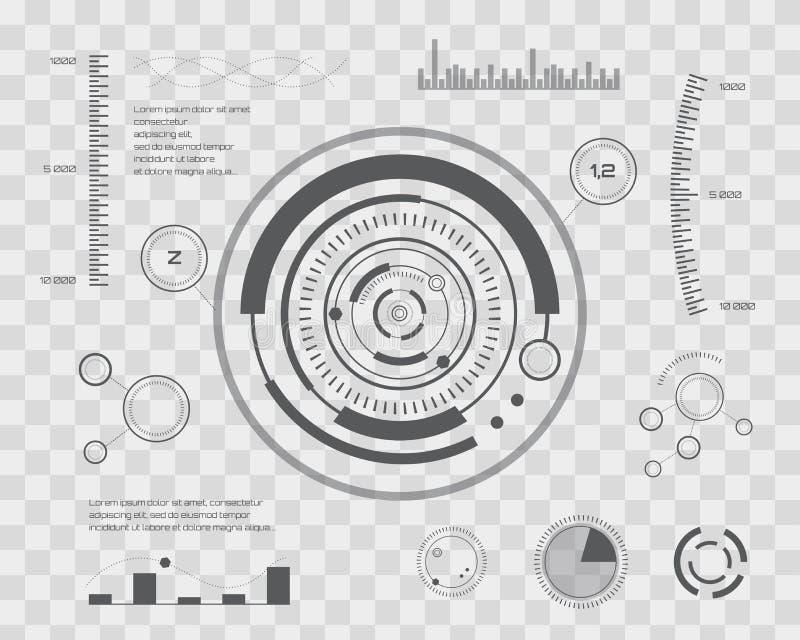 Futuro abstracto, interfaz de usuario gráfica virtual azul futurista HUD del tacto del vector del concepto Para el web, sitio, mó libre illustration