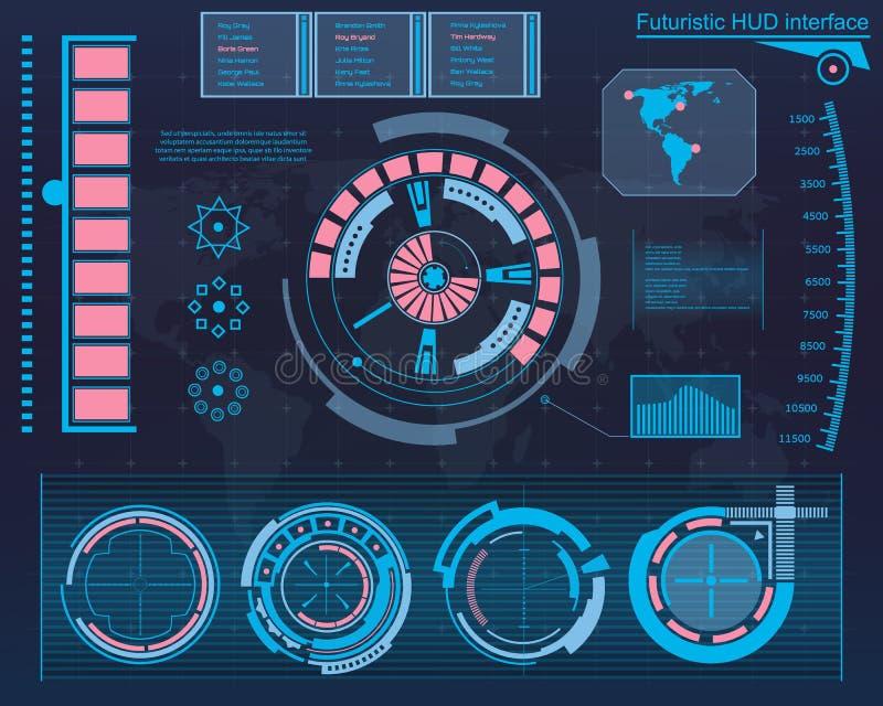 Futuro abstrato, interface de utilizador gráfica virtual azul futurista HUD do toque do vetor do conceito Para a Web, local, móve ilustração royalty free