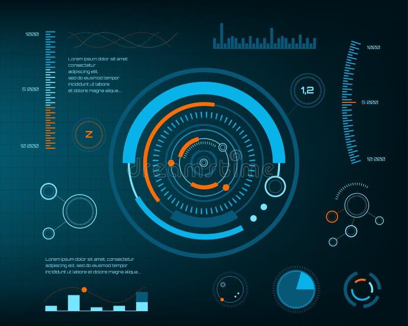 Futuro abstrato, interface de utilizador gráfica virtual azul futurista HUD do toque do vetor do conceito Para a Web, local, móve ilustração stock