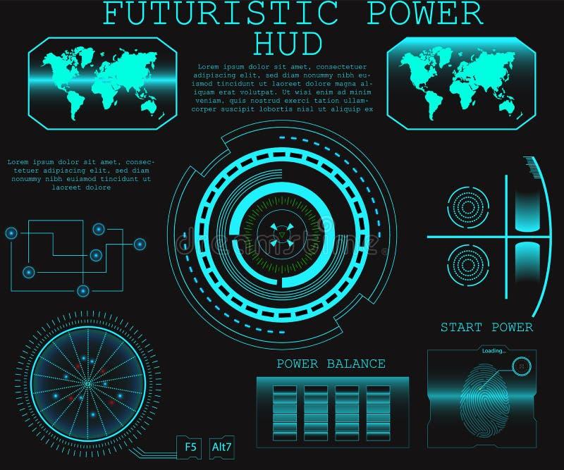 Futuro abstrato, interface de utilizador gráfica virtual azul futurista HUD do toque do vetor do conceito ilustração stock