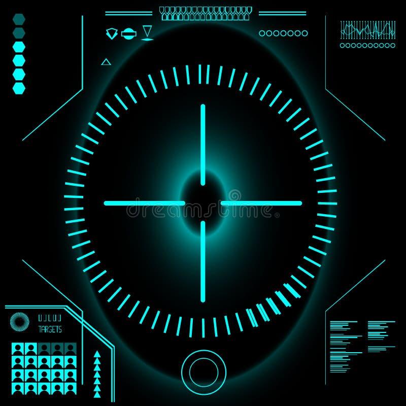 Futuro abstrato, interface de utilizador gráfica virtual azul futurista HUD do toque do vetor do conceito ilustração do vetor