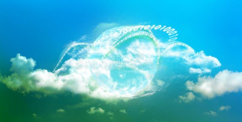Futuro brillante para la computación de la nube fotografía de archivo