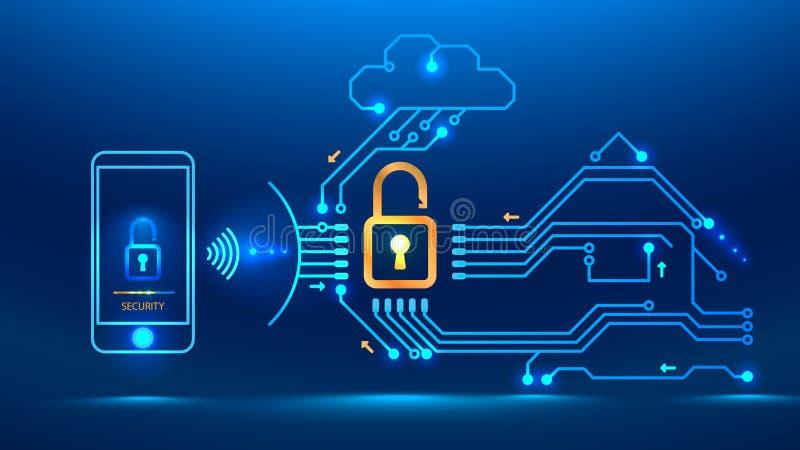 futuro cibernético de la seguridad stock de ilustración