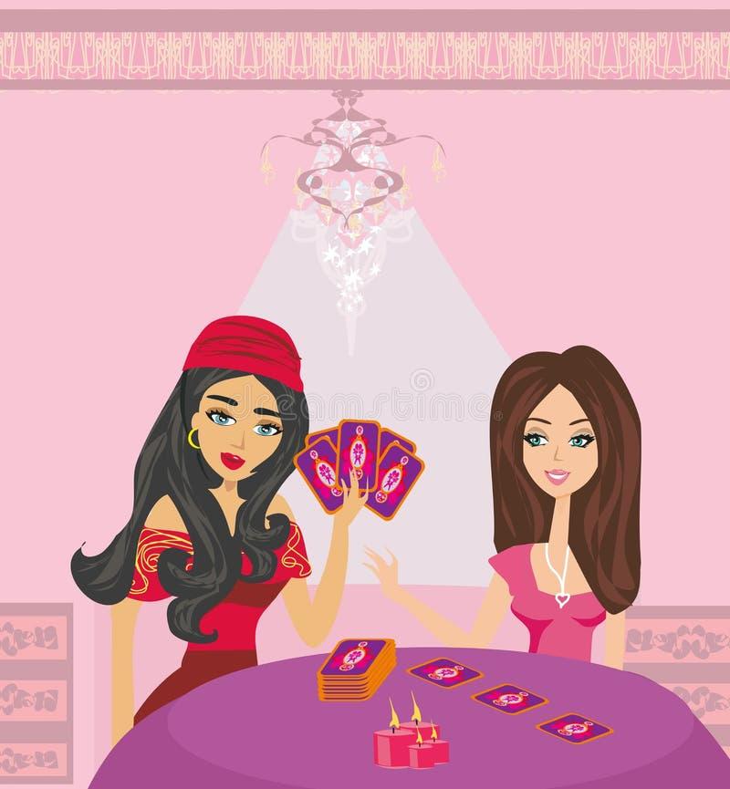 Futuro da leitura da mulher do caixa de fortuna dos cartões de tarô ilustração stock