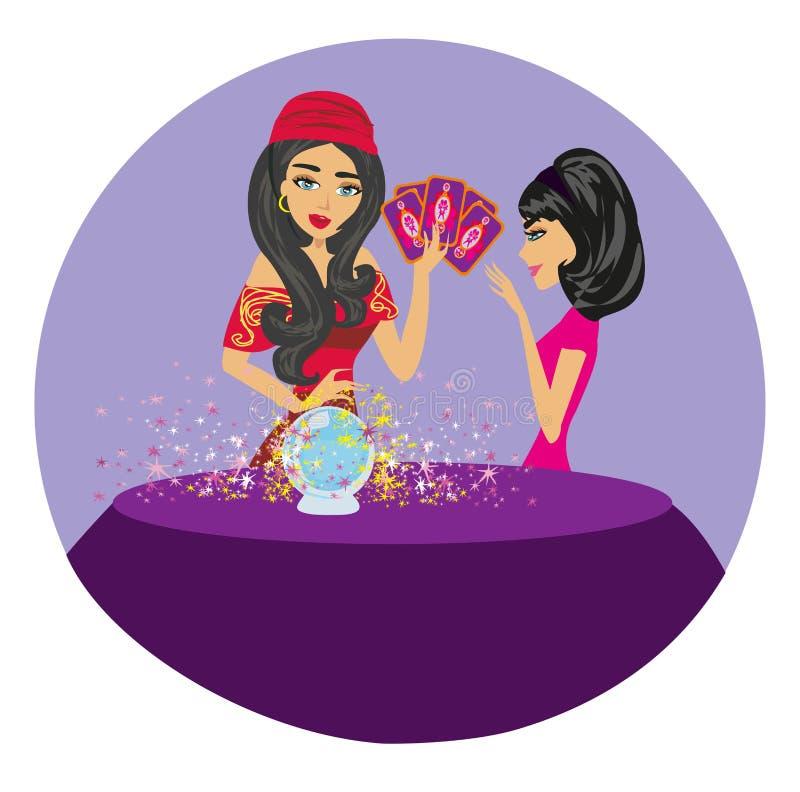 Futuro da leitura da mulher do caixa de fortuna na bola de cristal mágica ilustração do vetor
