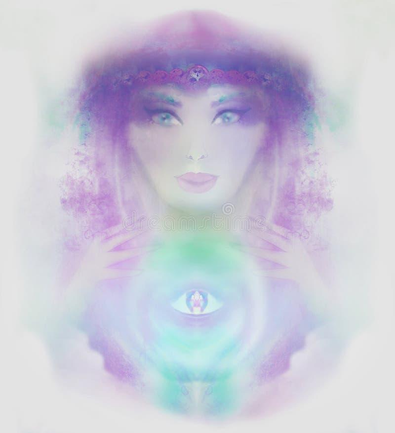Futuro da leitura da mulher do caixa de fortuna na bola de cristal mágica ilustração royalty free