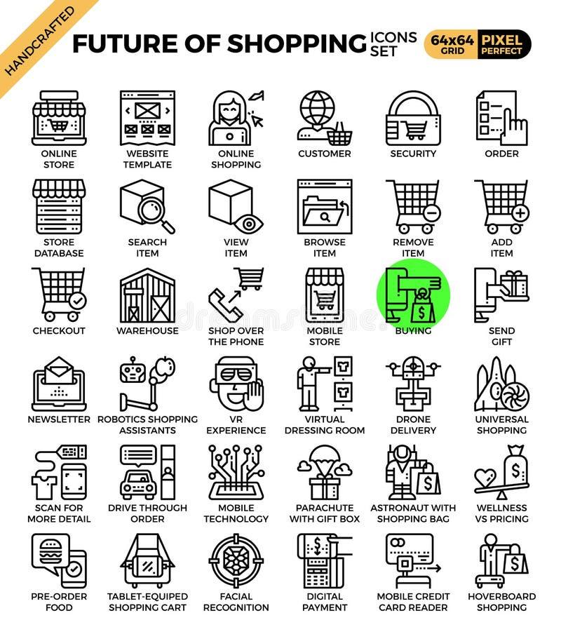 Futuro de ícones do conceito da compra ilustração do vetor