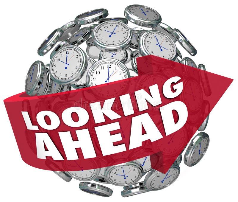 Futuro de la predicción del pronóstico del reloj de tiempo que anticipa ilustración del vector